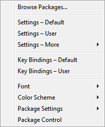 Sublime Text's Preferences menu